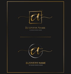 C t ct initial handwriting logo letter vector