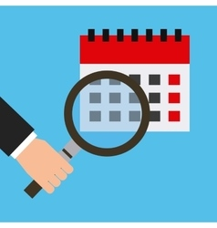 Calendar and magnifying glass vector