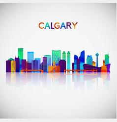 calgary skyline silhouette in colorful geometric vector image