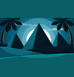 cartoon egypt landscape pyramid sun palm vector image