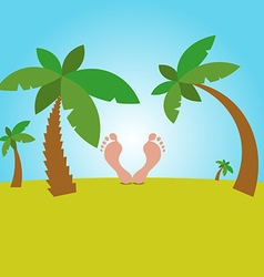 Cartoon of male feet resting on the background vector