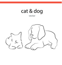Cat and dog silhouette lines vector