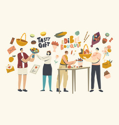 characters making or giving edible bouquets for vector image