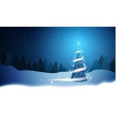 christmas tree blizzard stars snow sky night wood vector image