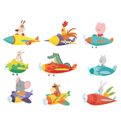 Colored set kids transport with cute little vector