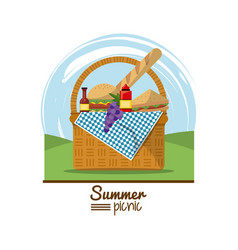 Colorful logo summer picnic with outdoor landscape vector
