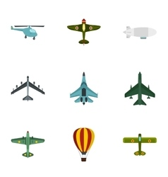 Combat aircraft icons set flat style vector