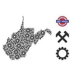 Composition west virginia state map of repair vector