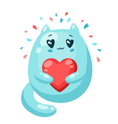 cute cat in love with heart valentine day vector image