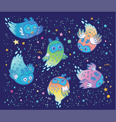 cute ghost owls set in the night children vector image