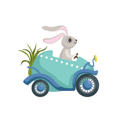 cute little bunny driving easter blue car egg vector image