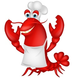 Cute lobster chef cartoon vector image