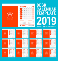 Desk calendar design template for 2019 year week vector