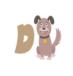 Dog animal alphabet symbol english letter d vector