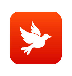 Dove icon digital red vector
