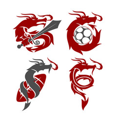 dragon sword soccer football logo design mascot vector image