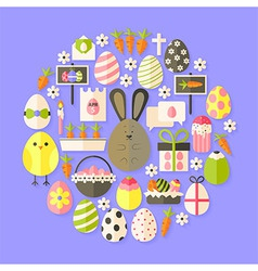 Easter Flat Icons Set circular shaped with shadow vector image