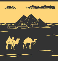 Egyptian pyramids and camels vector
