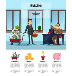 Finance investment banner with businessmen vector