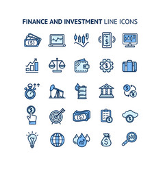 finance investment sign color thin line icon set vector image