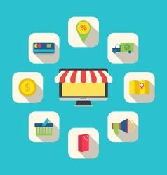 Flat Icons of E-commerce Shopping Symbols vector image