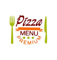 flat premium pizza house menu logo creative vector image