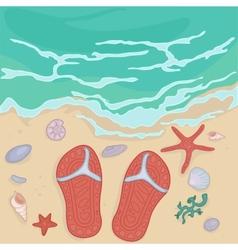 flip flops on the shore vector image vector image