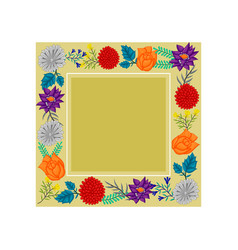 Frame flowers colors wedding blank template vector
