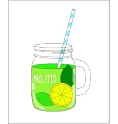 Fresh Mojito with Lemon and Mint vector