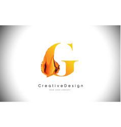 G orange letter design brush paint stroke gold vector