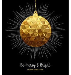 Gold Christmas ornament bauble in low poly style vector