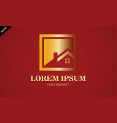 gold home icon logo vector image