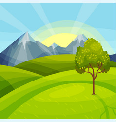 Green landscape with mountain peaks grassy hills vector