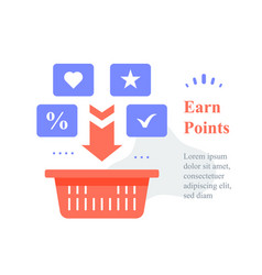 Grocery basket earn points for purchase vector