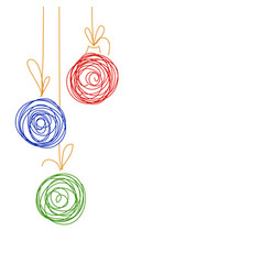 Hand drawing sketch christmas tree balls vector