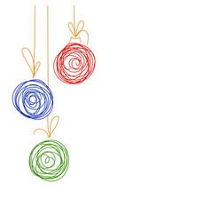 hand drawing sketch christmas tree balls vector image vector image