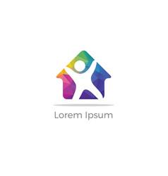 happy home icon real estate logo vector image