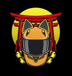 helmet cat ears logo vector image
