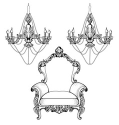 Imperial baroque chandelier decoration accesories vector