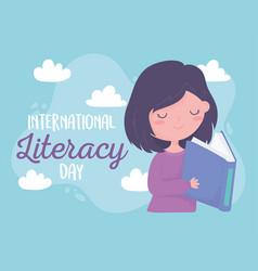 international literacy day happy girl reading vector image