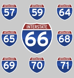 INTERSTATE SIGNS 57-71 vector