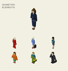 Isometric person set of hostess investor lady vector
