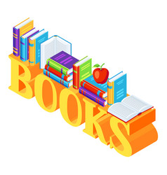 Isometric word with books vector