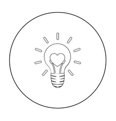 lightbulb icon in outline style isolated on white vector image