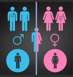 male and female symbol set gender concept usable vector image