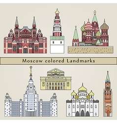 moscow colored landmarks vector image