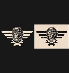 motorcycle repair vintage emblem vector image