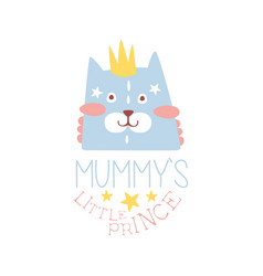 mummys little prince label colorful hand drawn vector image