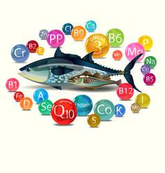 Natural organic food is fish vector