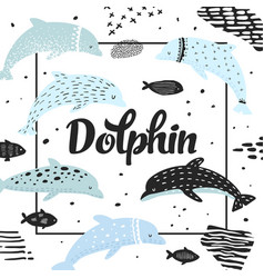 Nautical design with dolphins in childish style vector